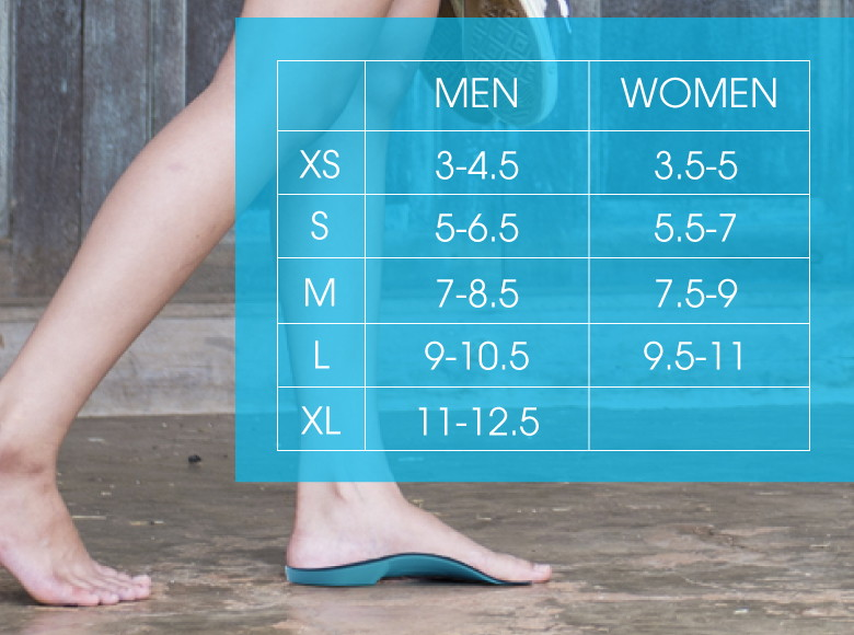 Spine Aligner orthotics insoles for lower back pain size guide